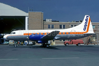 Aspen Airways Convair 440-38 N4814C (msn 107) (white top, orange stripe) DEN (Bob Weinwurzel - Christian Volpati Collection). Image: 910248.