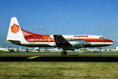 Aspen Airways Convair 580 N73132 (msn 69) (Frontier Airlines colors) LAX (Jacques Guillem). Image: 910257.