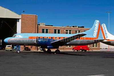 Aspen Airways Convair 440-38 N4816C (msn 118) (blue top, orange stripe) DEN (John B. Hayes). Image: 910250.