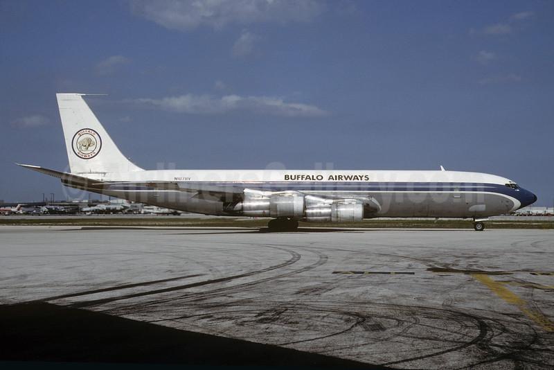 Buffalo Airways (USA) Boeing 707-341C N107BV (msn 19321) (VARIG colors) MIA (Bruce Drum). Image: 103659.