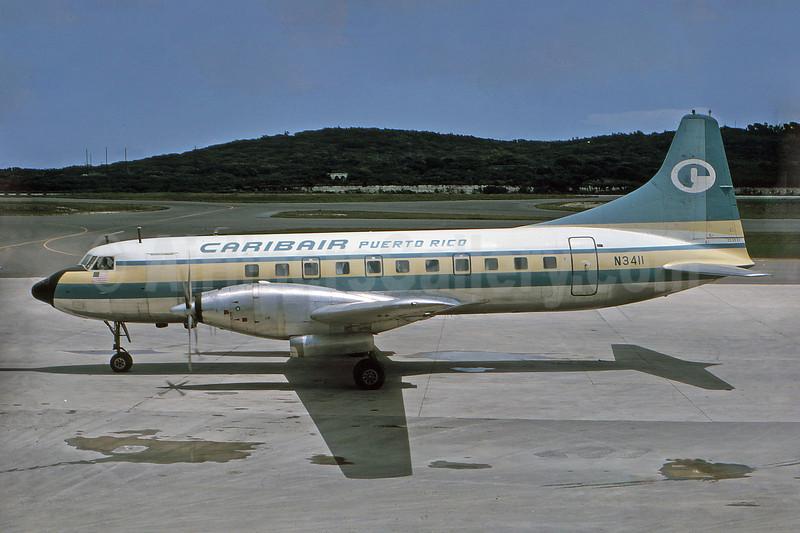 Caribair (Puerto Rico) Convair 640 N3411 (msn 31) (experimental colors) STX (Robert Drum). Image: 100537.