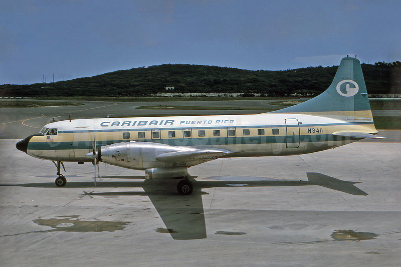 Caribair (Puerto Rico) Convair 640 N3411 (msn 31) (experimental colors) STX (Robert Drum). Image: 100537.