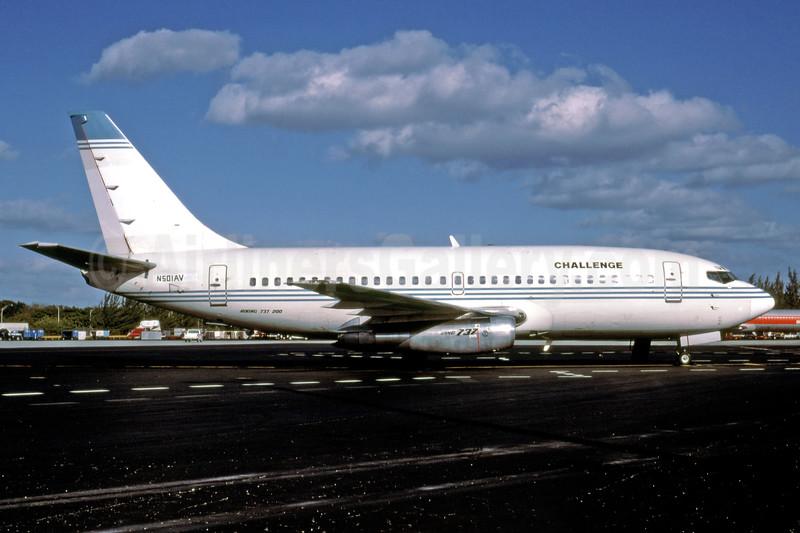 Challenge Air International Boeing 737-247 N501AV (msn 20128) (America West Airlines colors) MIA (Bruce Drum). Image: 102508.