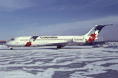 Columbia Air McDonnell Douglas DC-9-32 N715CL (CF-TLP) (msn 47068) YUL (Gary Vincent - Bruce Drum Collection). Image: 952430.