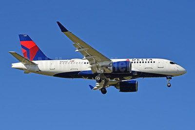 Delta's first A220-100, delivered October 26, 2018, on test trials