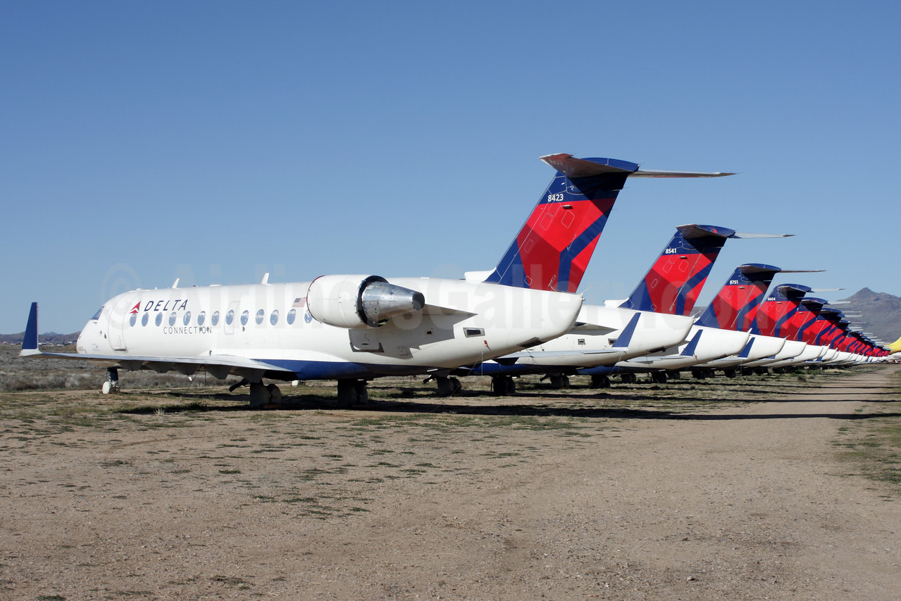 50-seat CRJ200s in storage in the desert