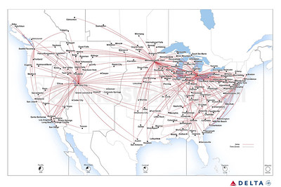 Delta Connection - SkyWest Airlines route map (August 2019)