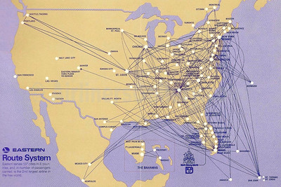 Eastern Airlines (1st) route map (September 1972)