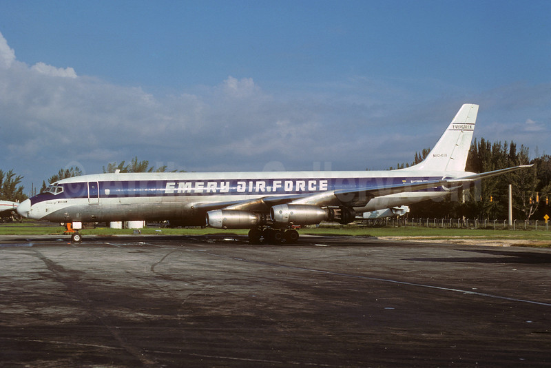 Emery Air Force (Emery Air Freight) (Evergreen International Airlines) Douglas DC-8-33 (F) N8245U (msn 45259) MIA (Bruce Drum). Image: 102721.