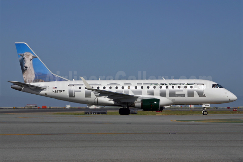Frontier Airlines (2nd)-Republic Airlines (2nd) Embraer ERJ 170-100SE N871RW (msn 17000140) (Mountain Goat) SFO (Mark Durban). Image: 904885.