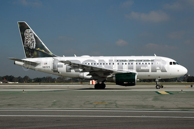 Frontier Airlines (2nd) Airbus A318-111 N805FR (msn 1660) (Great Gray Owl) LAX (Bruce Drum). Image: 100029.