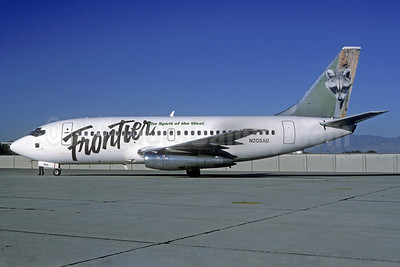 Frontier Airlines (2nd) Boeing 737-201 N205AU (msn 19421) (Raccoon) DEN (Christian Volpati Collection). Image: 937907.