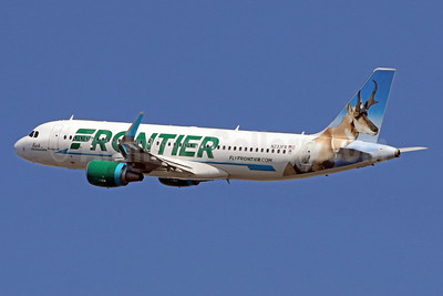 Frontier Airlines (2nd) Airbus A320-214 WL N233FR (msn 7095) (Buck, the Pronghorn) DCA (Brian McDonough). Image: 937299.