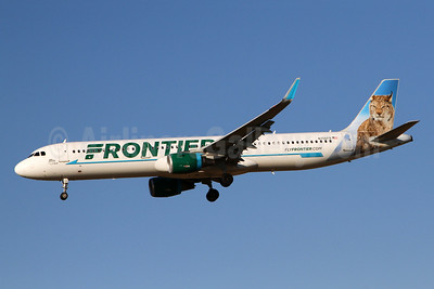 Frontier Airlines (2nd) Airbus A321-211 WL N706FR (msn 6926) (Max, the Lynx) PHL (Brian McDonough). Image: 941173.