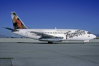 Frontier Airlines (2nd) Boeing 737-201 N205AU (msn 19421) (Red Fox) DEN (Christian Volpati Collection). Image: 937908.