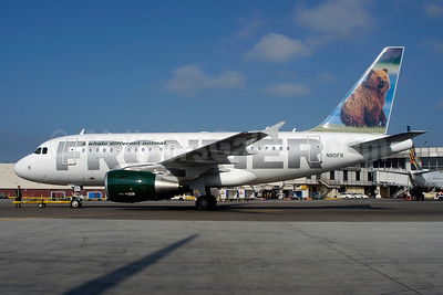 Frontier Airlines (2nd) Airbus A318-111 N801FR (msn 1939) (Grizzly Bear) LAX (Roy Lock). Image: 935945.