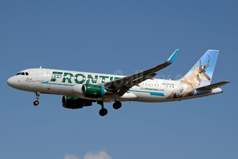 Frontier Airlines (2nd) Airbus A320-214 WL N233FR (msn 7095) (Buck, the Pronghorn) LAS (Jay Selman). Image: 937542.