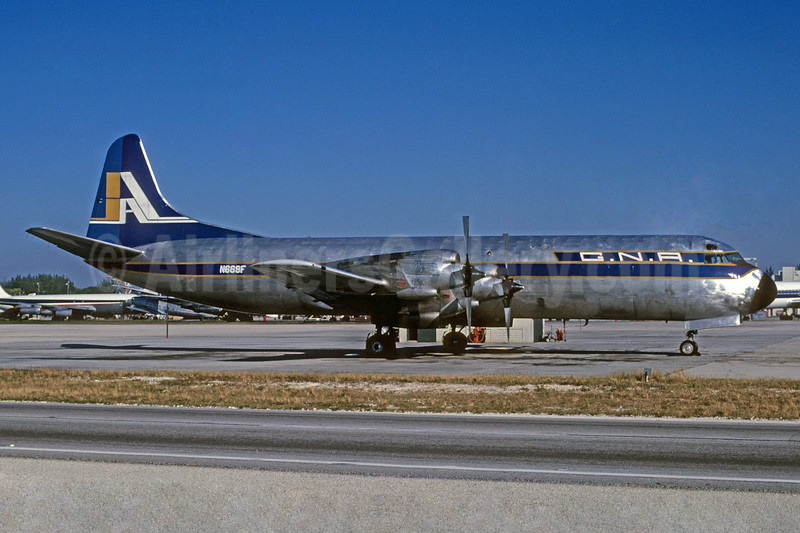 GNA (Great Northern Airlines) (USA) (Fleming International Airways) Lockheed 188A (F) Electra N669F (msn 1116) MIA (Bruce Drum). Image: 103716.