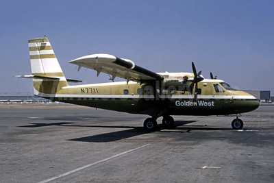 Golden West Airlines de Havilland Canada DHC-6-100 Twin Otter N7711 (msn 109) (Cable Commuter colors) LAX (Ted J. Gibson - Bruce Drum Collection). Image: 944169.