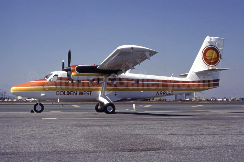 Golden West Airlines de Havilland Canada DHC-6-200 Twin Otter N66180 (msn 180) LAX (Ted J. Gibson - Bruce Drum Collection). Image: 944172.