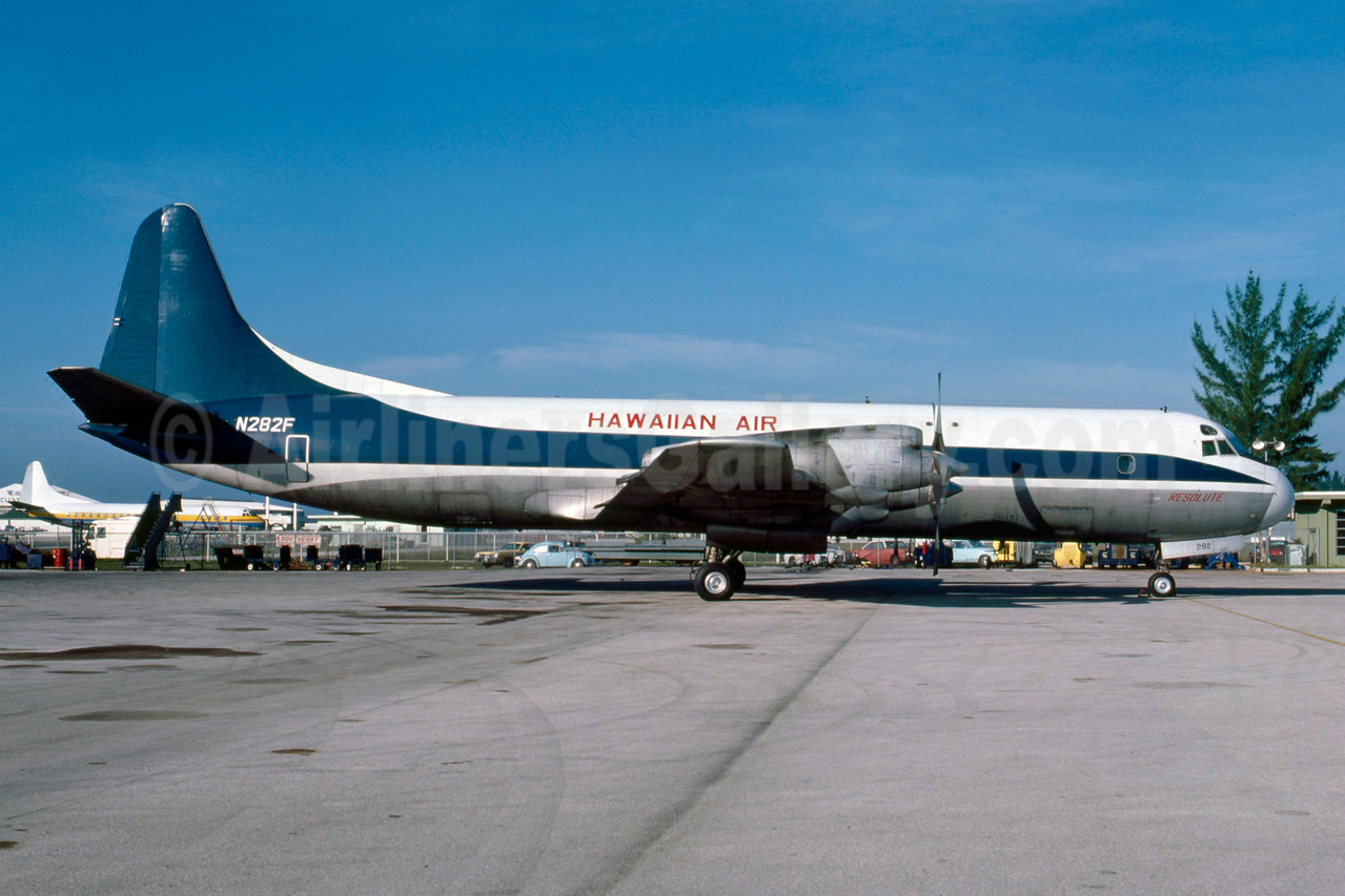 Hawaiian Air Cargo Lockheed 188A (F) Electra N282F (msn 1084) (ONA colors) MIA (Bruce Drum). Image: 103365.