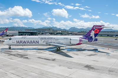 The first aircraft in the new 2017 Hawaiian Airlines livery