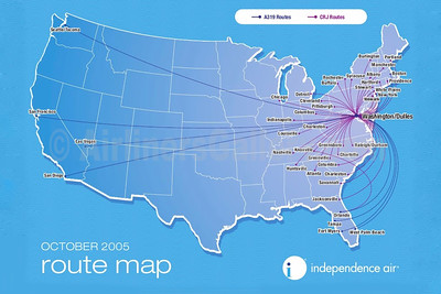 Independence Air route map (October 2005)