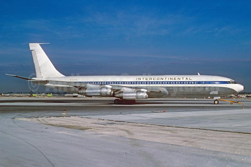 Intercontinental Airways Boeing 707-321C N791PA (msn 18715) (Pan Am colors) MIA (Bruce Drum). Image: 102719.