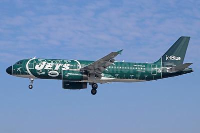 JetBlue's 2017 version of the New York Jets logo jet