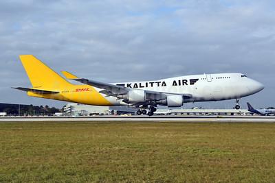 Kalitta Air (2nd)-DHL Boeing 747-446 (BCF) N743CK (msn 26350) MIA (Bruce Drum). Image: 105218.