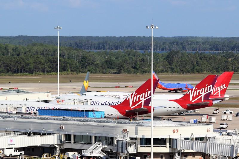 Three Virgin Atlantic Airways (VS) B747-400's at Orlando (MCO)