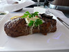 now this was great-- Grilled U.S. striploin with herbed butter, roasted portabello mushroom and vine ripened tomato