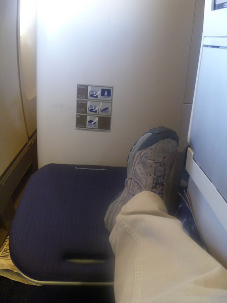 footrest comes down from the seat in front of you