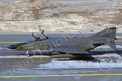 F-4USAF 00049 A taxing McDonnell Douglas RF-4C Phantom II USAF 69383 AR code McClellan AFB 10-1985 military airplane picture by Carl E Porter