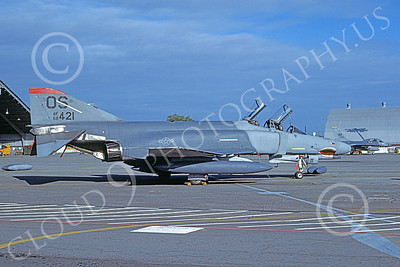 F-4USAF 00407 A static McDonnell Douglas F-4E Phantom II USAF 68421 36th TFS 51st CW OS code SHARKMOUTH Yokota AB 12-1987 military airplane picture by Wayne Andrews