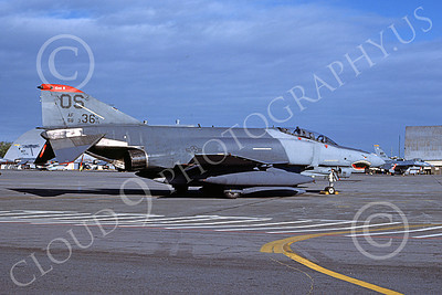 F-4USAF 00239 A static McDonnell Douglas F-4E Phantom II USAF 88336 36th TFS 51st CW OS code SHARKMOUTH Yokota AB 2-1987 military airplane picture by T Matsuzaki
