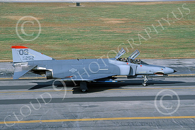 F-4USAF 00061 A taxing McDonnell Douglas F-4E Phantom II USAF 69252 OS code SHARKMOUTH 10-1987 military airplane picture by Peter R Foster