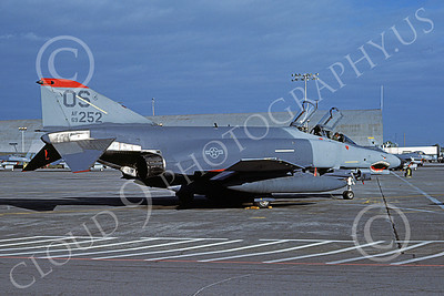 F-4USAF 00455 A static McDonnell Douglas F-4E Phantom II USAF 69252 36th TFS 51st CW OS code SHARKMOUTH Yokota AB 2-1987 military airplane picture by Charles Younger