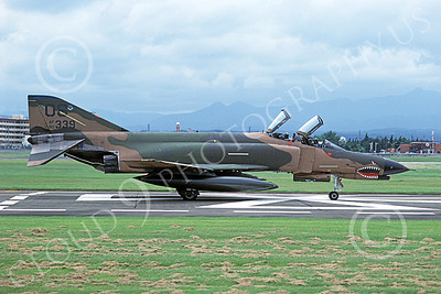 F-4USAF 00499 A taxing McDonnell Douglas F-4E Phantom II USAF 80339 497th TFS OS code SHARKMOUTH Yokota AB 7-1984 military airplane picture by Toshiki Kudo