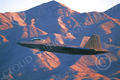 F-22USAF 00488 A flying Lockheed Martin F-22 Raptor USAF 00013 OT code Nellis AFB 12-2005 military airplane picture by Michael Grove, Sr