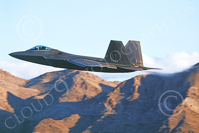 F-22USAF 00474 A flying Lockheed Martin F-22 Raptor USAF 00013 OT code jet fighter Nellis AFB 12-2005 military airplane picture by Michael Grove, Sr