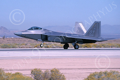 F-22USAF 00087  A landing Lockheed Martin F-22 Raptor USAF 99010 OT code Edwards AFB 11-2003 military airplane picture by Michael Grove, Sr