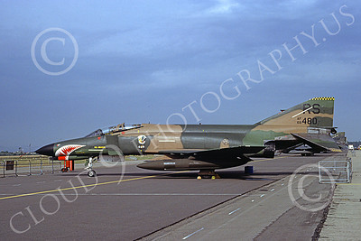 F-4USAF 00409 A static McDonnell Douglas F-4E Phantom II USAF 68480 86th TFW RS code with large SHARKMOUTH 8-1983 military airplane picture by H  J van Broekhuizen