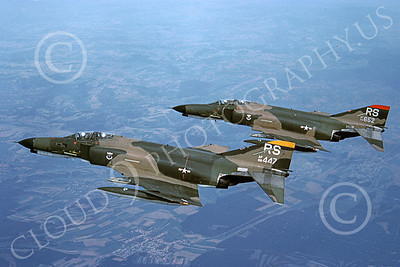 F-4USAF 00430 Two flying McDonnell Douglas F-4E Phantom IIs USAF 68447 86th TFW RS code 11-1981 military airplane picture by Harold Guillory