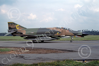 F-4USAF 00129 A taxing McDonnell Douglas F-4E Phantom II USAF 69249 513th TFS 36th TFW RS code SHARKMOUTH Ramstein 6-1980 military airplane picture by Wilfried Zetsche