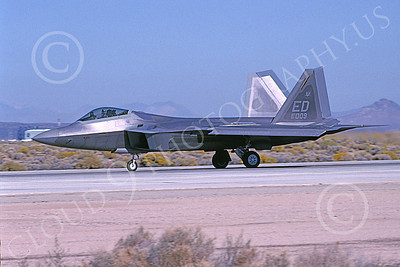 F-22USAF 00491 A taxing Lockheed Martin F-22 Raptor USAF 91009 ED code Edwards AFB 11-2005 military airplane picture by Michael Grove, Sr