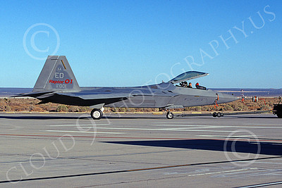 F-22USAF 00493 A towed Lockheed Martin F-22 Raptor USAF 91002 ED code Raptor No  1 Edwards AFB 10-1999 military airplane picture by Michael Grove, Sr