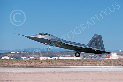 F-22USAF 00488 A landing Lockheed Martin F-22 Raptor 91002 ED code Edwards AFB 10-1999 military airplane picture by Michael Grove, Sr