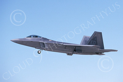 F-22USAF 00486 A flying Lockheed Martin F-22 Raptor 91007 ED code 11-2003 military airplane picture by Michael Grove, Sr