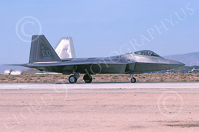 F-22USAF 00489 A taxing Lockheed Martin F-22 Raptor 91005 ED code Edwards AFB 11-2005 military airplane picture by Michael Grove, Sr
